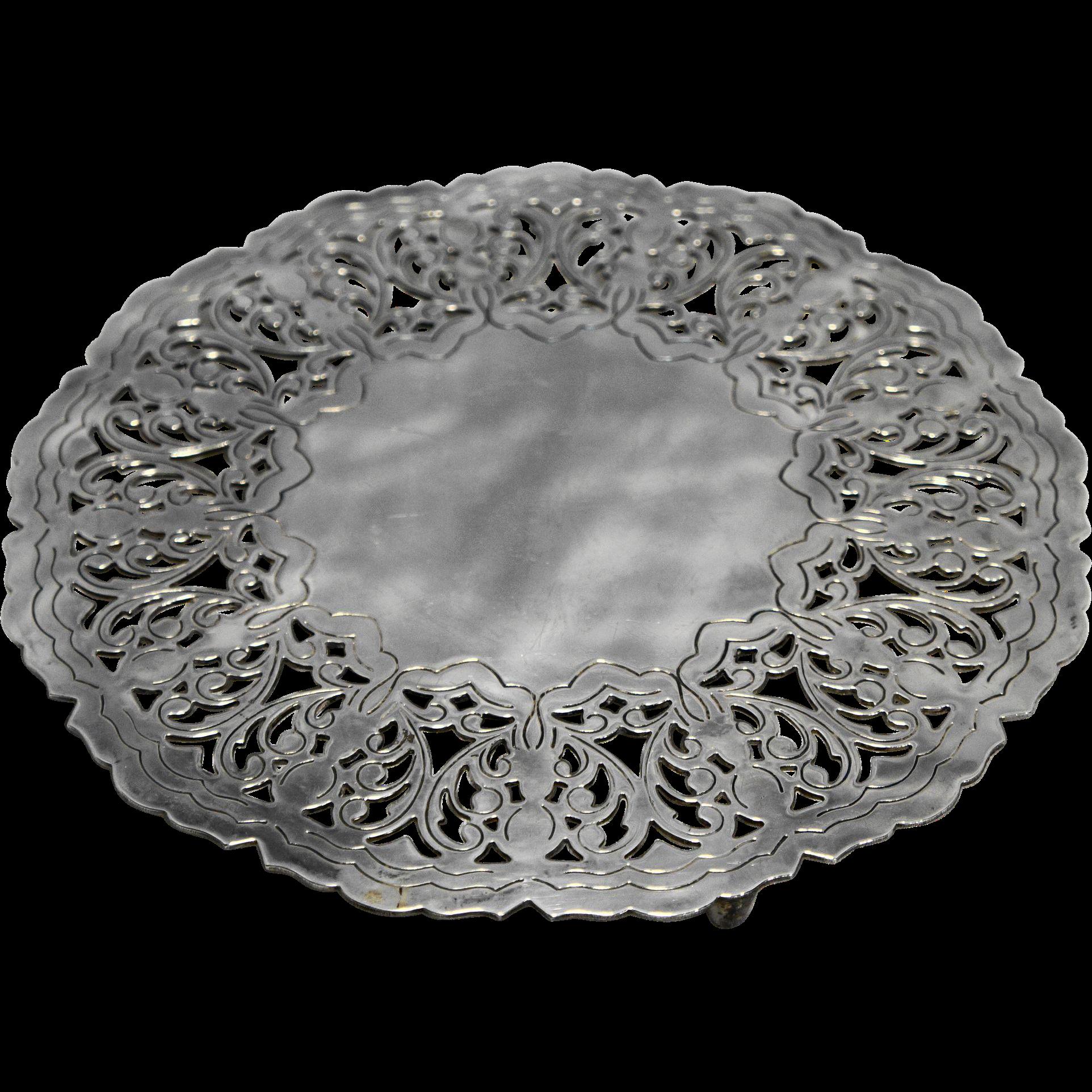 Silver Plated Trivet Pierced Scrolls Round 7 IN Made in Denmark
