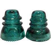 Hemingray 42 40 Green Glass Insulators Pair Made in USA