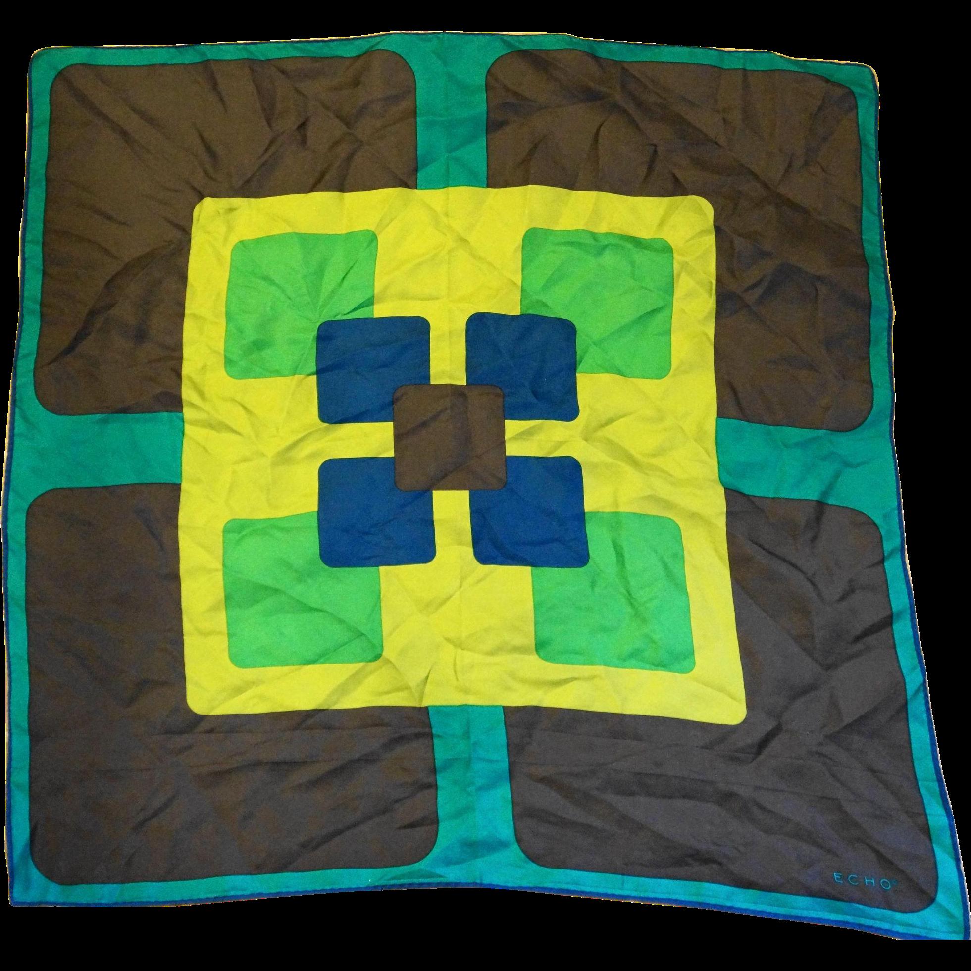 Echo Silk Scarf Square Geometric Color Block Blue Green Brown 21 IN