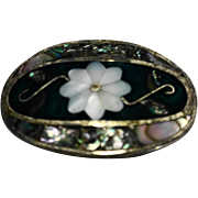 Alpaca Oval Pin Pendant Inlaid Shell Abalone Mother Of Pearl Flower