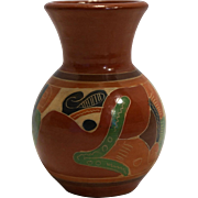 Costa Rica Pottery Vase Hand Painted Southwestern Earth Tones Colors 4 3/4 IN