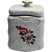House of Webster Ceramics Briar Rose White Embossed Canister Biscuit Jar