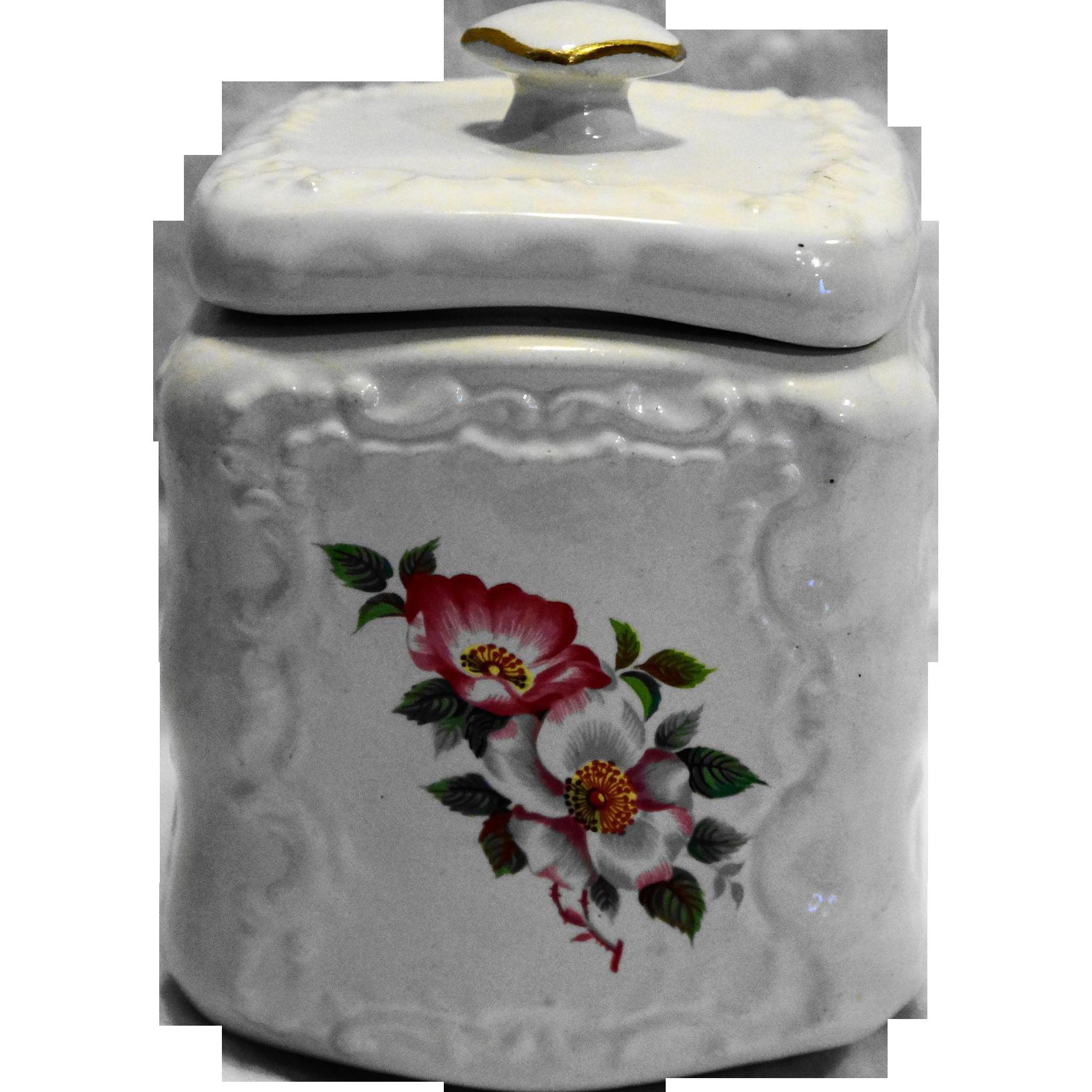 House of Webster Ceramics Briar Rose White Embossed Canister Biscuit Jar