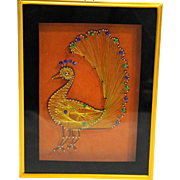Peacock Shadow Box Gold Thread String Nails Sequins Art Framed