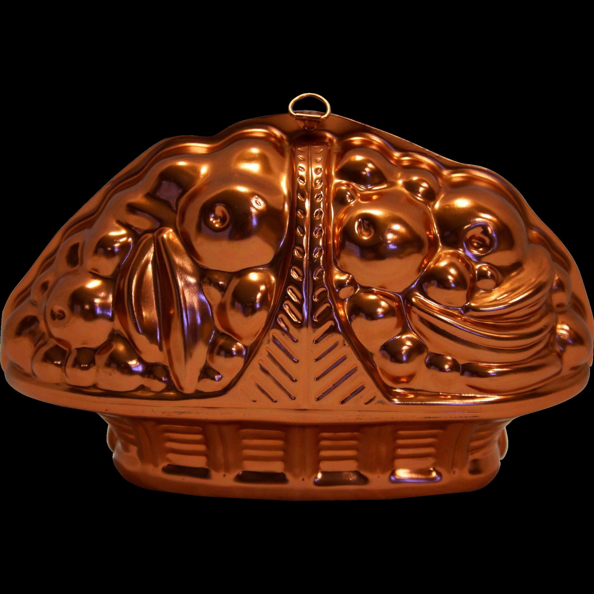 Mirro Pink Aluminum Copper Tone Fruit Basket Jello Mold Pan