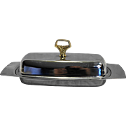 Kromex Chrome Butter Dish 3 Piece Gold Handle Glass Insert