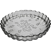 Anchor Hocking Savannah Embossed Floral Quiche Pan Dish Clear Glass