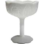 Kemple Sunburst White Milk Glass Compote Small