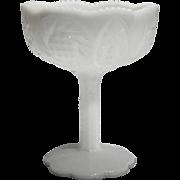 Kemple Sunburst White Milk Glass Compote Small