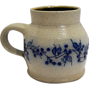 Salmon Falls Stoneware Mug 4 IN Blue Vine Blueberry Salt Glazed Pottery