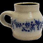 Salmon Falls Stoneware Mug 4 IN Blue Vine Blueberry Salt Glazed Pottery