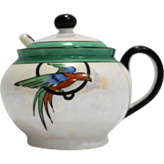 Noritake Bird Hand Painted Green Band Mother Of Pearl Lustre Mustard Pot Condiment Jar