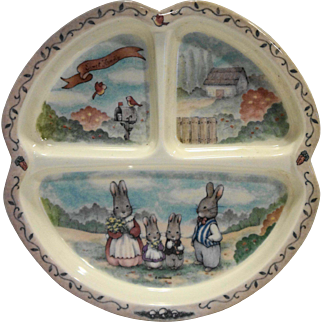 Sweet Family Rabbits Bunnies Melmac Divided Child's Plate Peco Ware