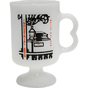 Industrial Arts Graphics New Orleans 77 White Milk Glass Mug Pedestal - Red Tag Sale Item