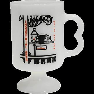 Industrial Arts Graphics New Orleans 77 White Milk Glass Mug Pedestal