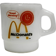 Fire King McDonald's Good Morning Mug White Milk Glass