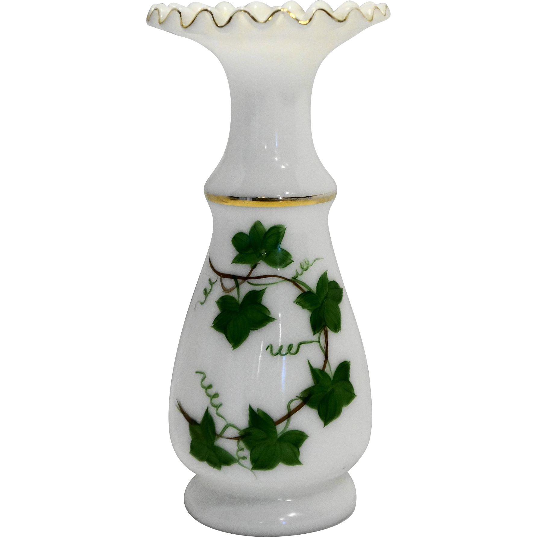 Consolidated Con Cora Art Glass Regent Line Hand Painted Ivy Vine Milk Glass Vase Ruffle Rim