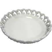 Fenton Milk Glass Reverse C Lace Edge Bowl 8 IN