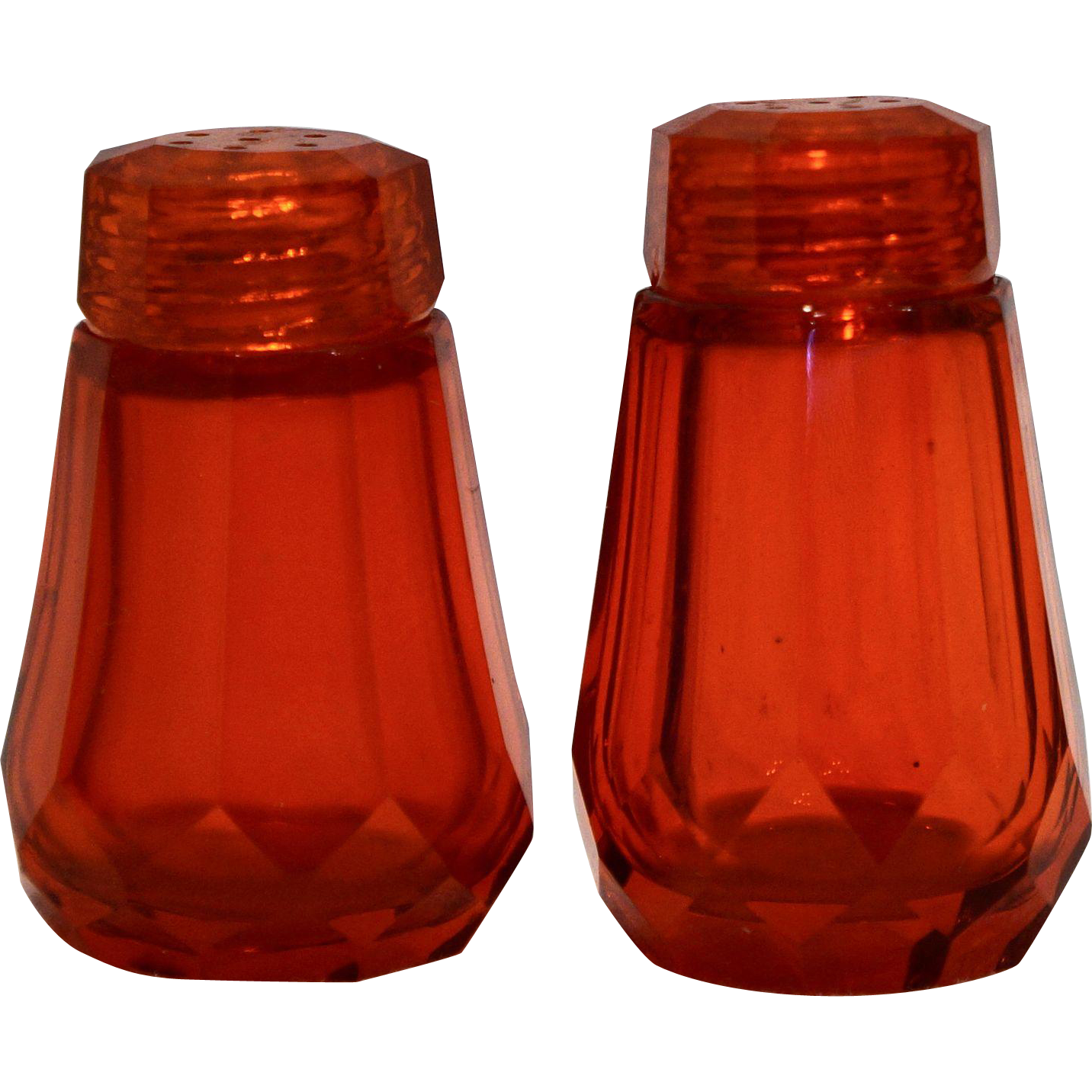 Flame Red Orange Cut Glass Paneled Mini Individual Salt Pepper Shakers