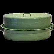 Jade Jadeite Green Enamel Roaster Roasting Pan Oval Large