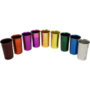 Sunburst Anodized Aluminum Colorful Rainbow Tumblers Set of 9