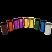 Sunburst Anodized Aluminum Colorful Rainbow Tumblers Set of 9