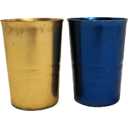 Colorful Anodized Aluminum Tumblers Pair Copper Blue