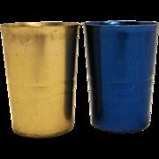 Colorful Anodized Aluminum Tumblers Pair Copper Blue