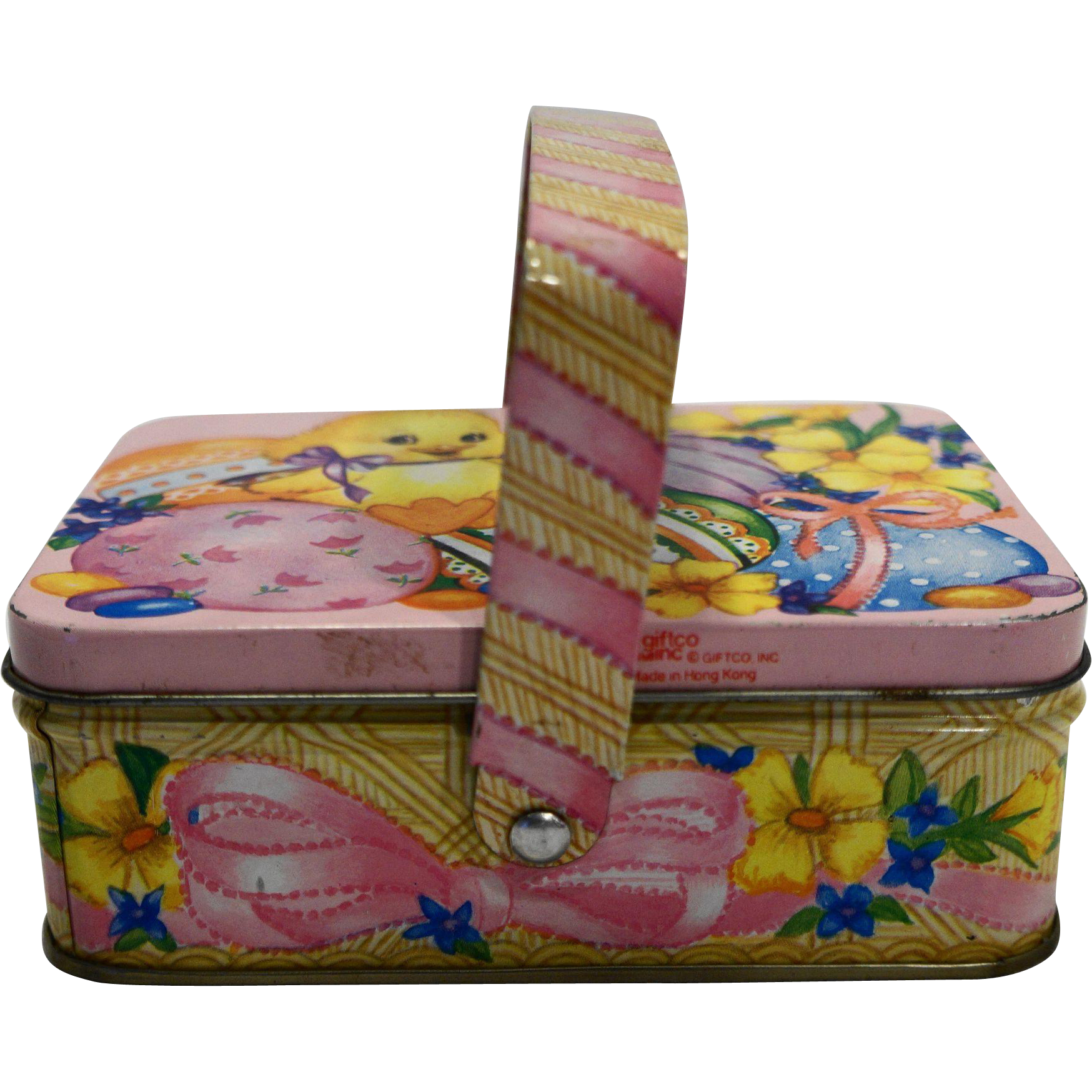 Giftco Easter Spring Chick Duck Eggs Themed Tin Basket