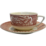 Royal China Pink Red Currier Ives Cup Saucer