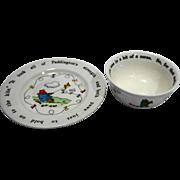 Paddington Bear Coalport China England Coupe Cereal Bowl Child Plate
