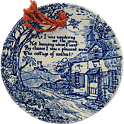 Crownford China Staffordshire England Cottage of Content Blue White Transferware Wall Plaque
