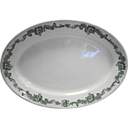 John Maddock Sons Burley Chicago Vitrified China Oval Platter Green Transferware Restaurant Hotel Ware 1890s
