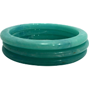 Aqua Turquoise Marbled Swirl Lucite Stack Flat Bangles Set of 3