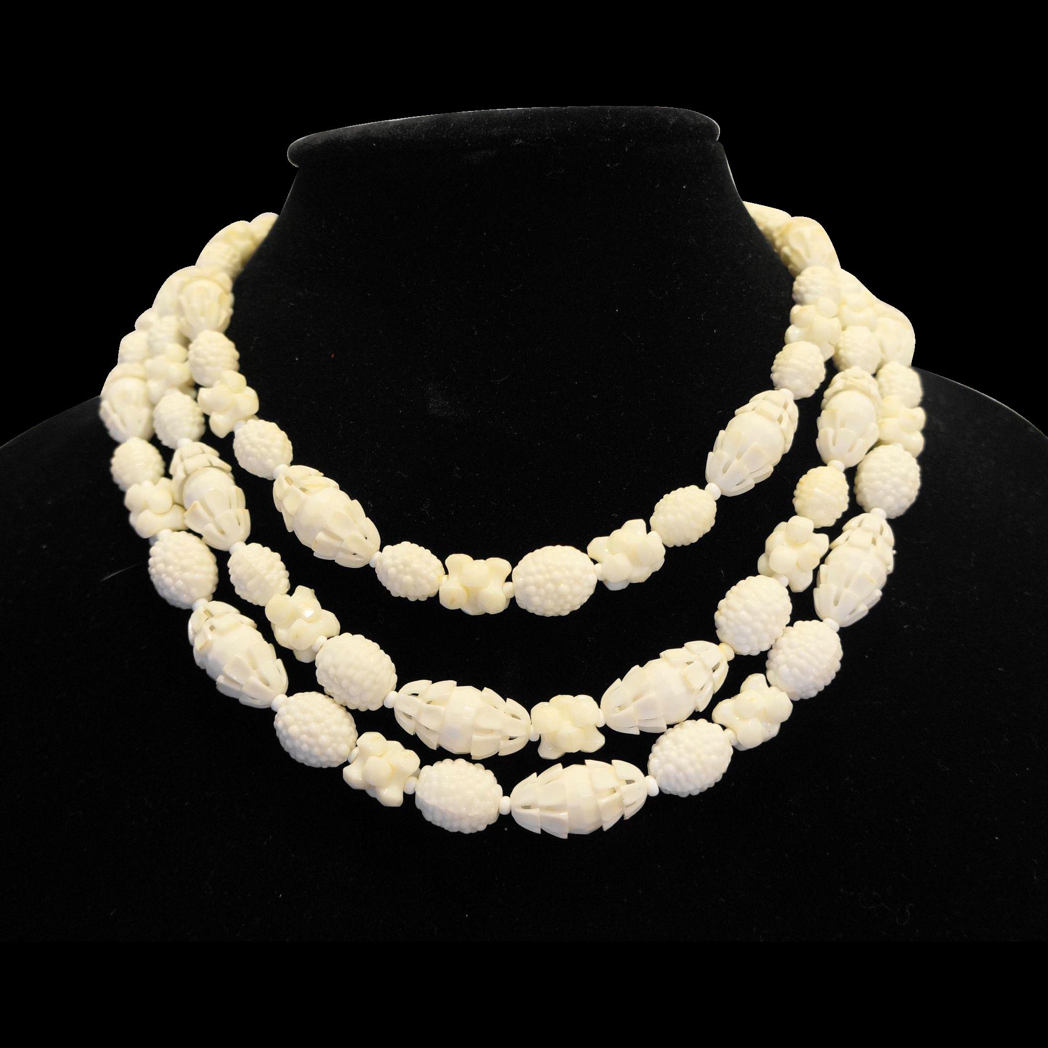 Western Germany Elaborate White Plastic Beads Triple Strand Necklace Fruit Salad