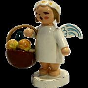 Wendt Kuhn Kuehn Erzebirge Marguerite Made East Germany Angel Basket WuK Wood Figurine Hand Painted