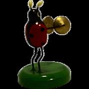 Erzebirge Ladybug Band Orchestra Cymbals Hand Painted Wood Figurine