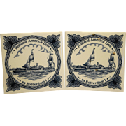 Delft Tile Holland America Line SS Rotterdam Cruise Ship Pair Trivets