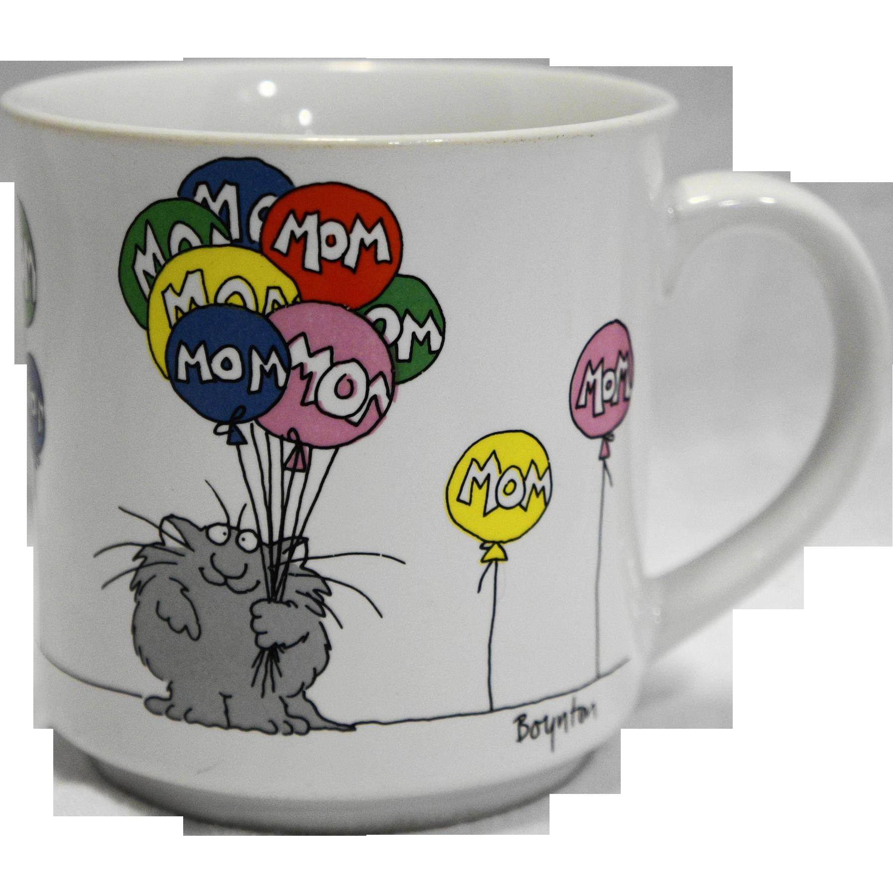 Sandra Boynton Mom Mother's Day Cup Mug Cat Holding Balloons