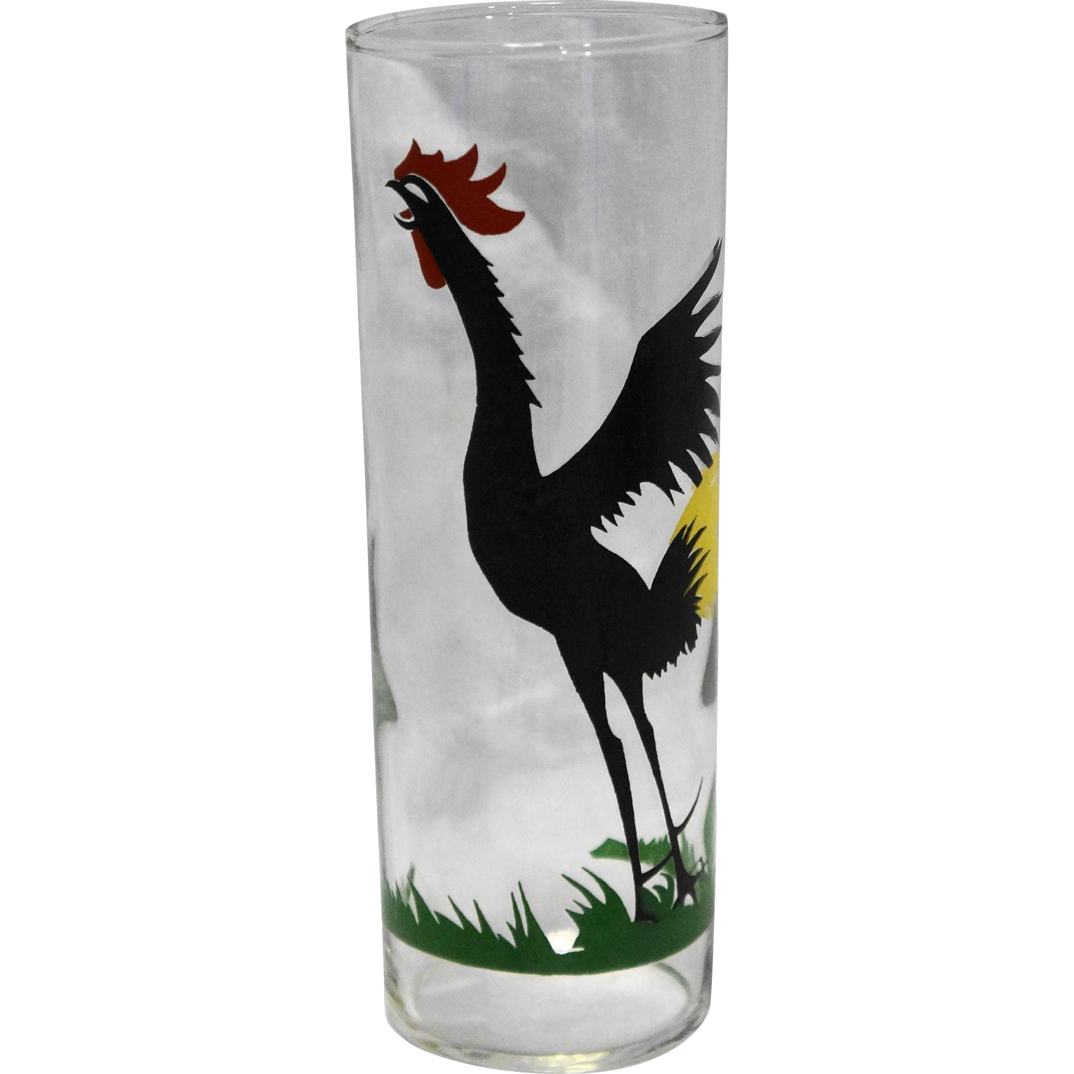 Federal Glass Cock Cro Black Rooster Tall Tom Collins Lemonade Iced Tea Tumbler