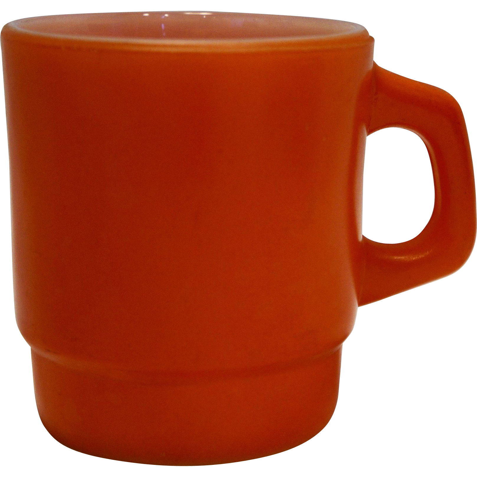 Anchor Hocking Orange Fired On Milk Glass Stacking Mug
