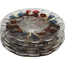 Indiana Glass Garland Banana Fruits Salad Plates Clear Stained Fruit Blue Grapes Red Apples