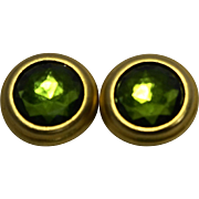 Peridot Green Circle Button Rhinestone Cab Clip Earrings Gold Tone