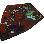 Red Colorful Spatter Abstract Enamel Copper Shield Pin Brooch