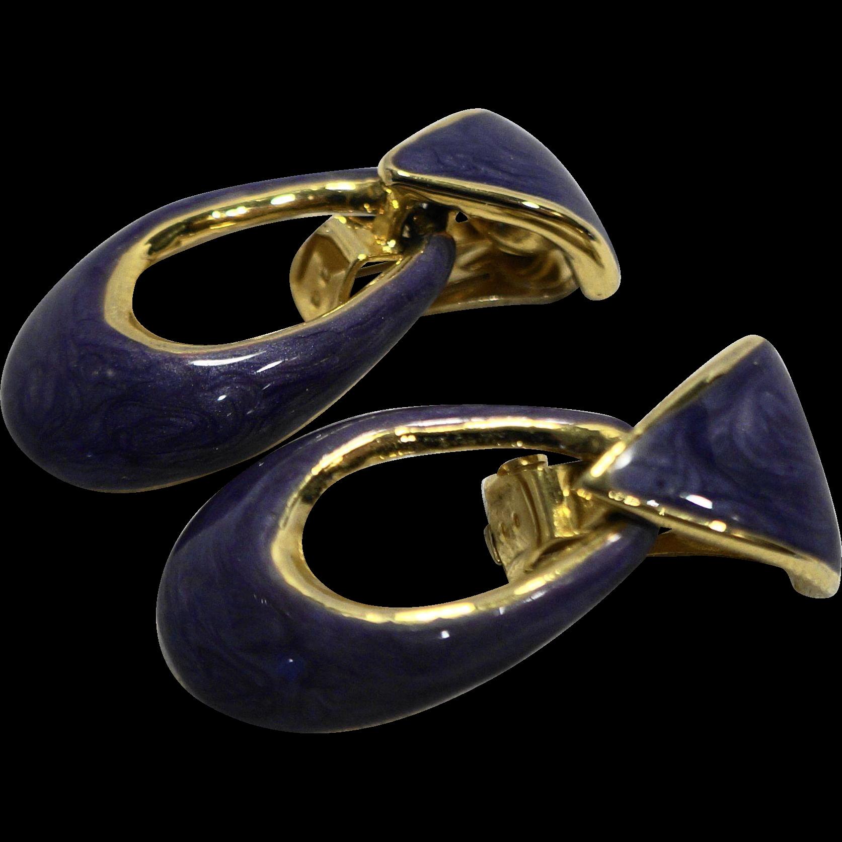 Purple Swirl Enamel Gold Tone Doorknocker Earrings