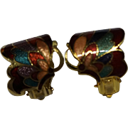 Cloisonne Enamel Butterfly Earrings Clips
