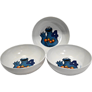 Cookie Monster Cereal Bowls Melmac Set of 3 Sesame Street Muppets
