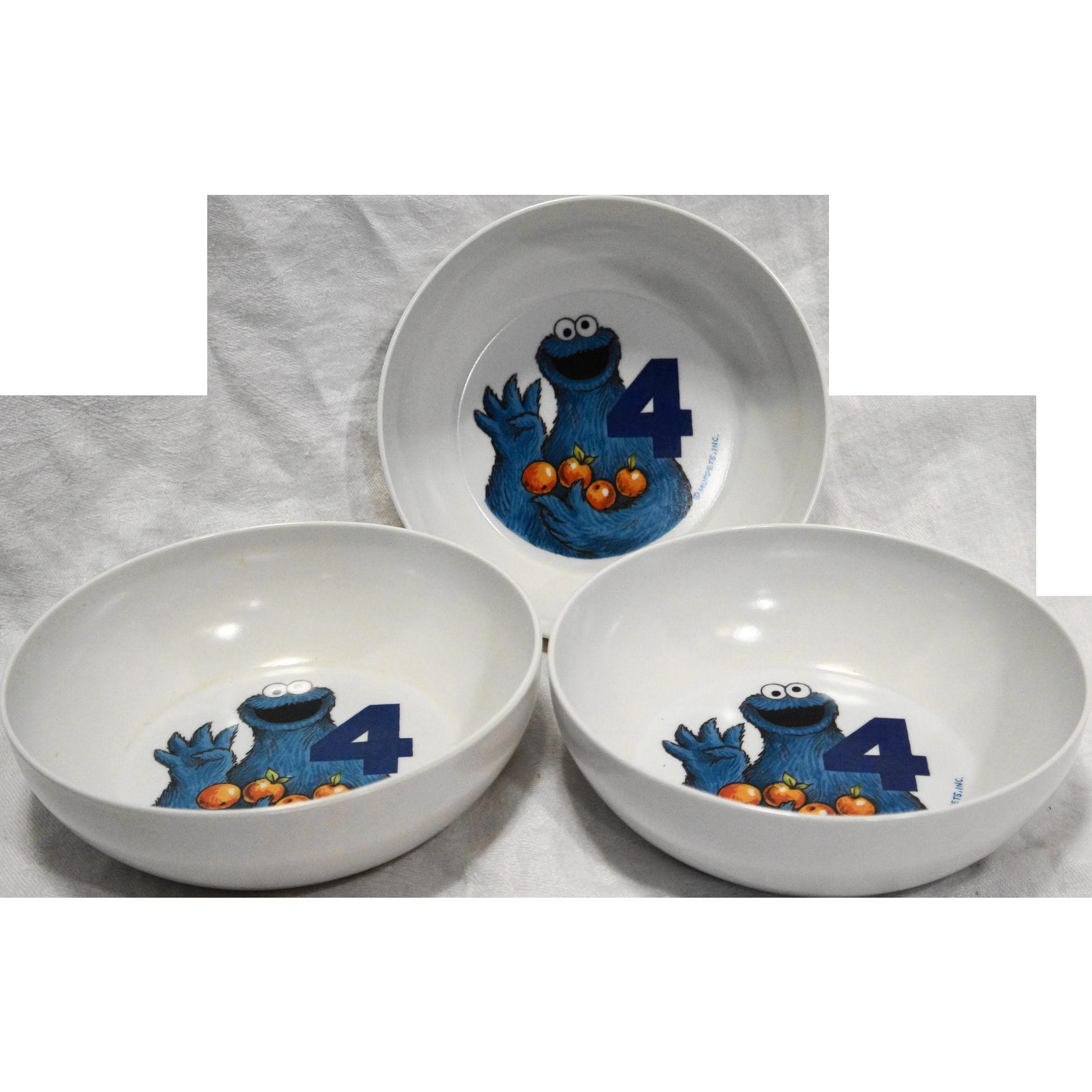 Cookie Monster Cereal Bowls Melmac Set of 3 Sesame Street Muppets