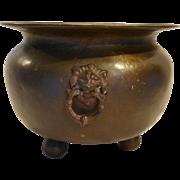 Russian Brass Lion Head Handles Planter Cauldron Kettle Pot Ball Feet Large 13 IN