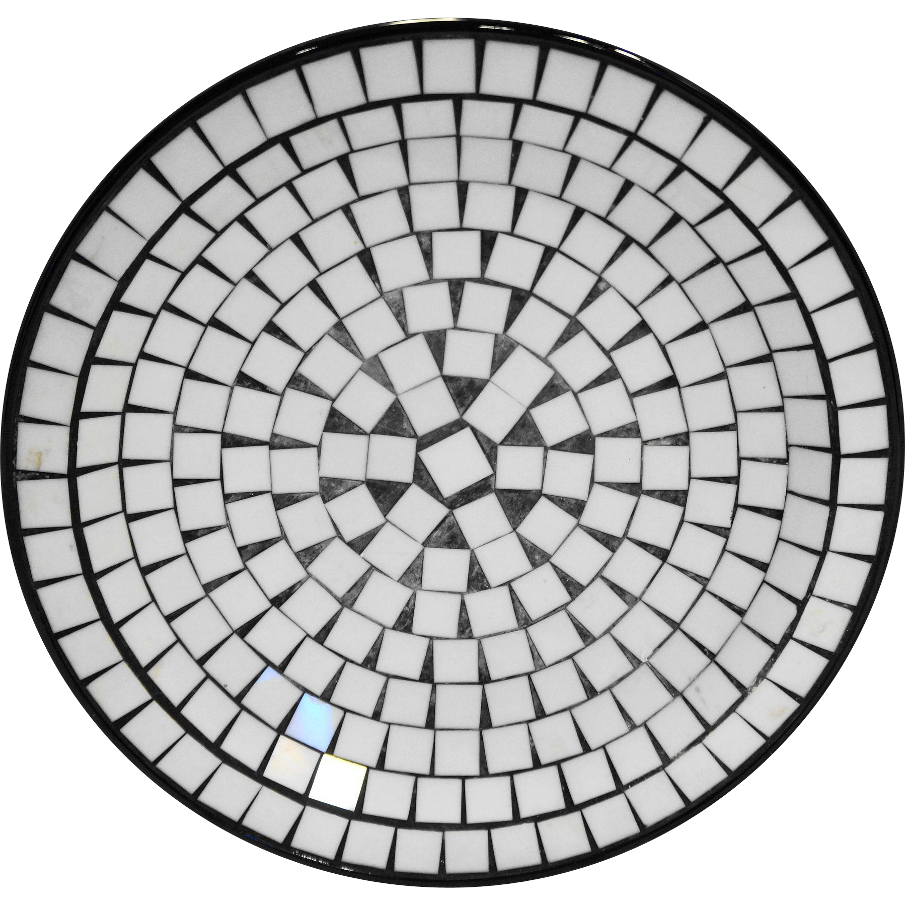 BR Denmark Mosaic Tile Dish Plate Black White Midcentury Modern 11 IN